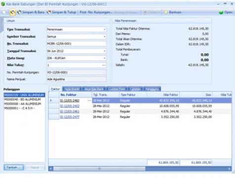 Penerimaan uang dari beberapa pelanggan untuk beragam jenis pembayaran bisa diinput dalam 1 tampilan dengan mudah
